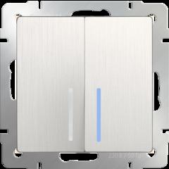 Выключатель  двухклавишный проходной с подсветкой (перламутровый рифленый) WL13-SW-2G-2W-LED Werkel