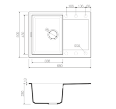 Кухонная мойка из искусственного гранита (Tetogranit) OMOIKIRI Sakaime 68-BE (4993109)