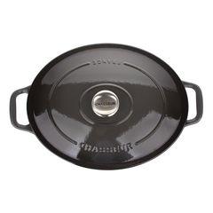Кастрюля чугунная 29 см (4,5л), овальная, CHASSEUR Caviar (цвет: cеребристо-черный) арт. 472989