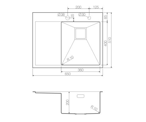 Кухонная мойка из нержавеющей стали OMOIKIRI Akisame 65-LG-R (4993084)