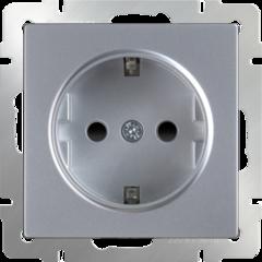 Розетка с заземлением и шторками  (серебряный) WL06-SKGS-01-IP44 Werkel