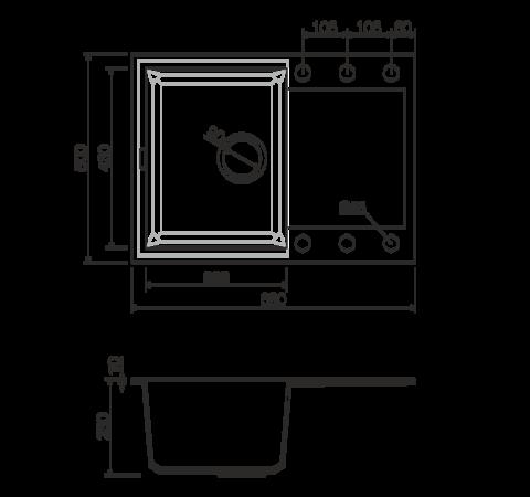 Кухонная мойка из искусственного гранита (Tetogranit) OMOIKIRI Sakaime 68-DC (4993192)