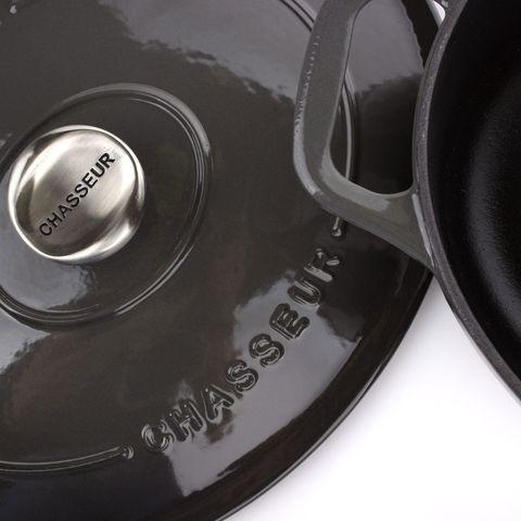 Кастрюля с крышкой чугунная 29 см (4,5л), с эмалированным покрытием, овальная, CHASSEUR Caviar (цвет: cеребристо-черный) арт. 472989