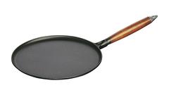 Сковорода для блинов Staub черная, с деревянной ручкой, 28 см ,с приспособлением для размазывания теста 1212823