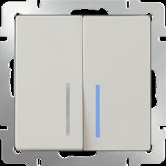 Выключатель двухклавишный проходной c подсветкой (слоновая кость) WL03-SW-2G-2W-LED-ivory Werkel