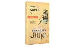 Набор из 5 ножей Samura HARAKIRI, держателя, ножниц и мусата SHR-0280B/K
