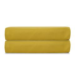 Простыня на резинке из сатина горчичного цвета из коллекции Essential, 180х200х28 см Tkano TK19-FS0027