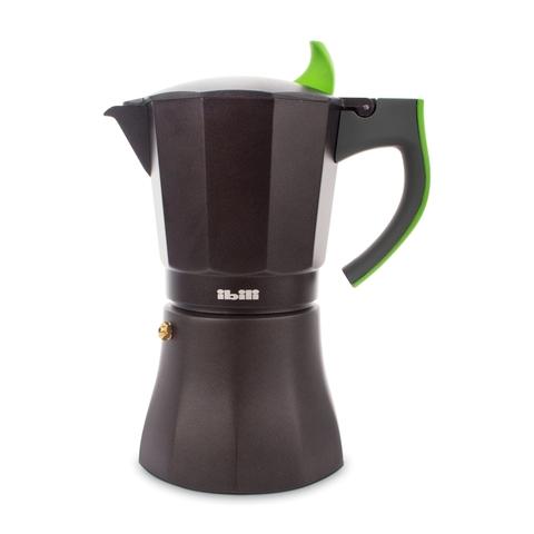 Кофеварка гейзерная на 9 чашек, алюминий, ручка зеленая IBILI L' Aroma арт. 621109