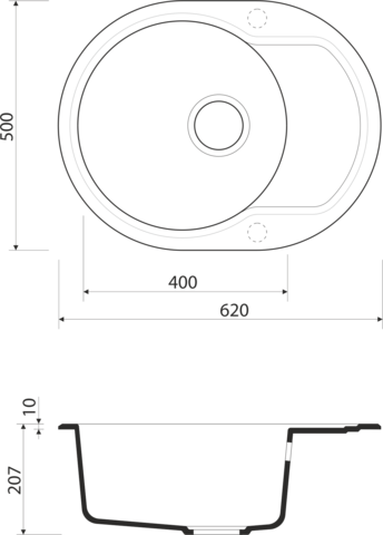 Кухонная мойка из искусственного гранита (Artgranit) OMOIKIRI Manmaru-62-BE (4993349)