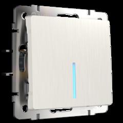 Выключатель одноклавишный проходной с подсветкой (перламутровый рифленый) WL13-SW-1G-2W-LED Werkel