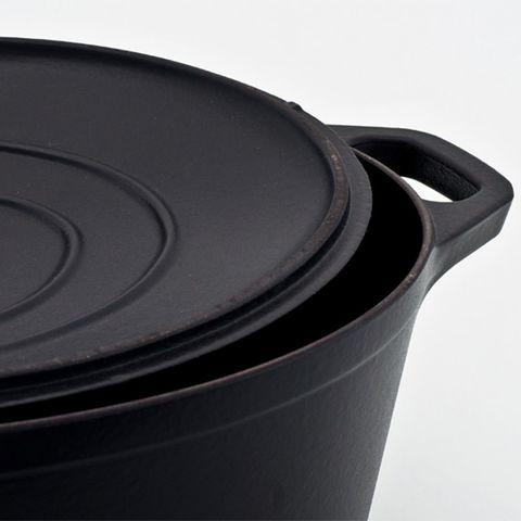 Кастрюля с крышкой чугунная 29 см (4,5л), с эмалированным покрытием, овальная, CHASSEUR Black (цвет: чёрный) арт. 3729 (2918)
