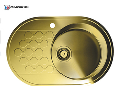 Кухонная мойка из нержавеющей стали OMOIKIRI Kasumigaura 77-1-AB-R (4993071)
