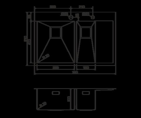Кухонная мойка из нержавеющей стали OMOIKIRI Akisame 78-2-GM-L (4993101)