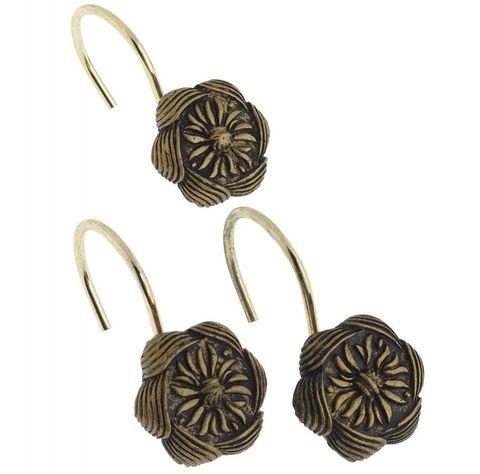 Набор из 12 крючков для шторки Carnation Home Fashions Auburn Antique Gold PHP-AU/62