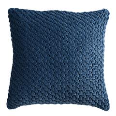 Подушка декоративная стеганая из хлопкового бархата темно-синего цвета из коллекции Essential, 45х45 Tkano TK19-CU0002