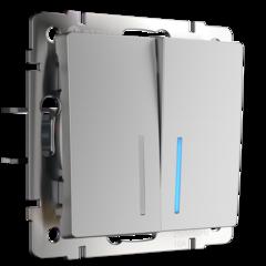 Выключатель двухклавишный проходной с подсветкой (серебряный) WL06-SW-2G-2W-LED Werkel