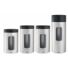 Набор контейнеров с окном 4 пр (1х1,4л + 2х1,7л + 1х2,2л) матовая сталь с защитой от отпечатков пальцев Brabantia 386725