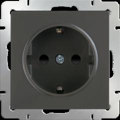 Розетка с заземлением и шторками (серо-коричневый) WL07-SKGS-01-IP44 Werkel