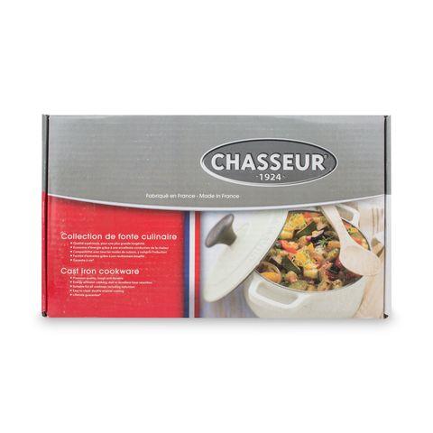 Кастрюля с крышкой чугунная 27 см (3,6л), с эмалированным покрытием, овальная, CHASSEUR Caviar (цвет: cеребристо-черный) арт. 472789