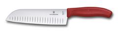 Нож Victorinox сантоку 17 см рифленое, красный (подарочная упаковка) 6.8521.17G