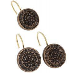 Набор из 12 крючков для шторки Carnation Home Fashions Bronze Floral PHP-BR
