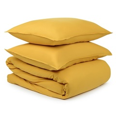 Комплект постельного белья полутораспальный горчичного цвета из органического стираного хлопка из коллекции Essential Tkano TK20-BLI0009