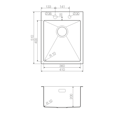 Кухонная мойка из нержавеющей стали OMOIKIRI Kirisame 41-IN (4993056)