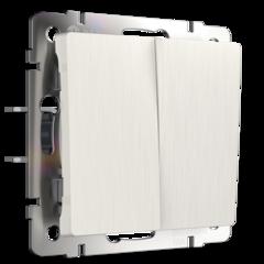 Выключатель двухклавишный проходной (перламутровый рифленый) WL13-SW-2G-2W Werkel