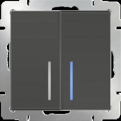 Выключатель двухклавишный проходной с подсветкой (серо-коричневый) WL07-SW-2G-2W-LED Werkel