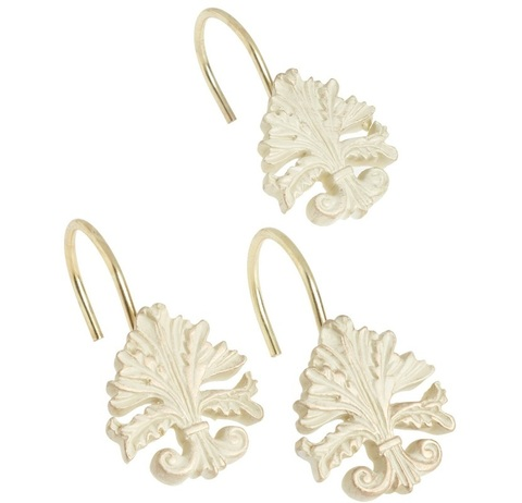Набор из 12 крючков для шторки Carnation Home Fashions Fleur di Lis Brushed Gold PHP-FL/56