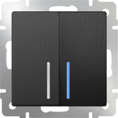 Выключатель двухклавишный проходной с подсветкой (графит рифленый) WL04-SW-2G-2W-LED Werkel
