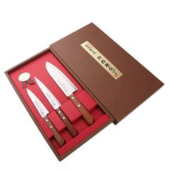 Набор из 3 кухонных ножей SATAKE Natural Wood HG8371/R