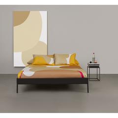 Комплект постельного белья полутораспальный из сатина горчичного цвета с авторским принтом из коллекции Freak Fruit Tkano TK20-DC0047