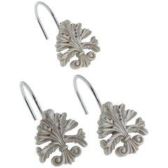 Набор из 12 крючков для шторки Carnation Home Fashions Fleur di Lis Silver PHP-FL/03