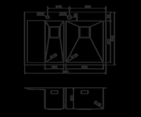 Кухонная мойка из нержавеющей стали OMOIKIRI Akisame 78-2-GM-R (4993102)