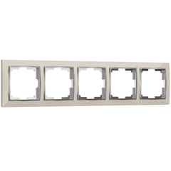Рамка на 5 постов (слоновая кость/хром) WL03-Frame-05-ivory Werkel