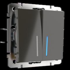 Выключатель двухклавишный с подсветкой (серо-коричневый) WL07-SW-2G-LED Werkel