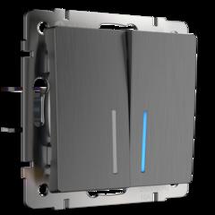 Выключатель двухклавишный с подсветкой (графит рифленый) WL04-SW-2G-LED Werkel
