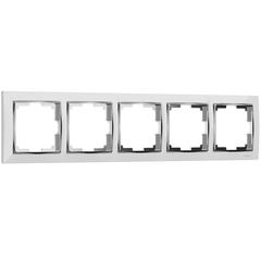 Рамка на 5 постов (белый/хром) WL03-Frame-05-white Werkel