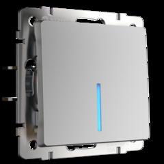 Выключатель одноклавишный проходной с подсветкой (серебряный) WL06-SW-1G-2W-LED Werkel