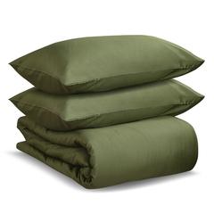 Комплект постельного белья полутораспальный из сатина оливкового цвета из коллекции Wild Tkano TK20-DC0019