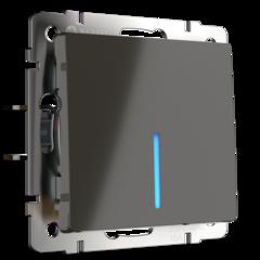 Выключатель одноклавишный проходной с подсветкой (серо-коричневый) WL07-SW-1G-2W-LED Werkel