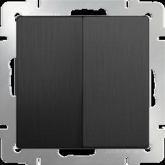 Выключатель двухклавишный проходной (графит рифленый) WL04-SW-2G-2W Werkel