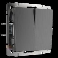 Выключатель  двухклавишный (графит рифленый) WL04-SW-2G Werkel