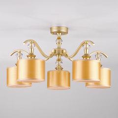Потолочная люстра с золотистыми абажурами Eurosvet Ofelia 60070/5 перламутровое золото