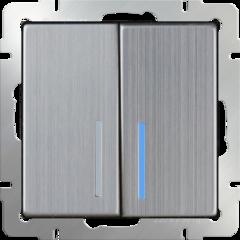Выключатель двухклавишный с подсветкой (глянцевый никель) WL02-SW-2G-LED Werkel