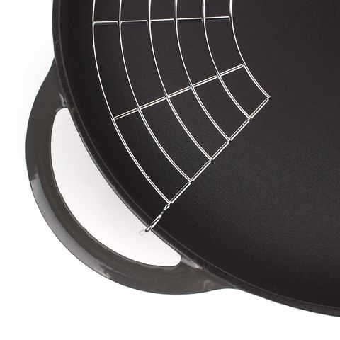 Вок чугунный 37 см с эмалированным покрытием, крышка стеклянная, CHASSEUR Caviar (цвет: cеребристо-черный) арт. 103789