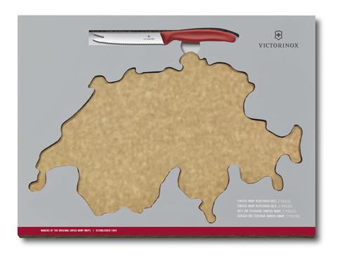 Набор Victorinox Swiss Map: нож для овощей и сыра 11 см + разделочная доска Epicurean MV-6.7191.CH