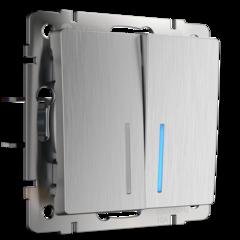 Выключатель двухклавишный с подсветкой (cеребряный рифленый) WL09-SW-2G-LED Werkel
