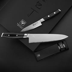 Набор из 2 кухонных ножей (3 слоя) YAXELL MON и точилки арт. YA36300-003